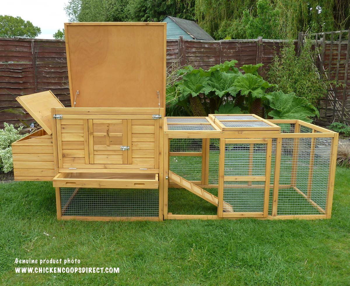 Chicken coop with top open
